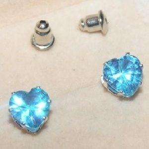 Blue Topaz Heart Cut Stud Earrings